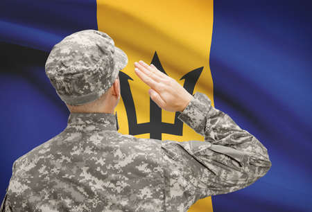 barbadian: National military forces with flag on background conceptual series - Barbados