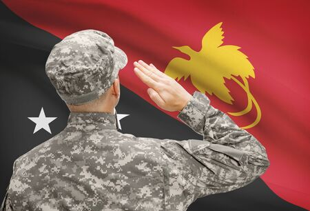 papua new guinea: National military forces with flag on background conceptual series - Papua New Guinea