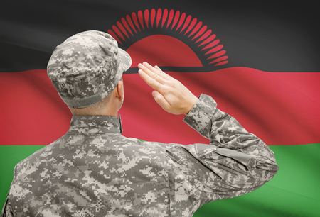 malawian flag: National military forces with flag on background conceptual series - Malawi Stock Photo