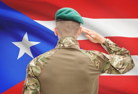 puerto rico: Soldier in hat facing national flag series - Puerto Rico