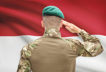 indonesia: Soldier in hat facing national flag series - Indonesia Stock Photo