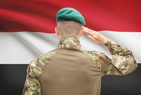 flag of egypt: Soldier in hat facing national flag series - Egypt