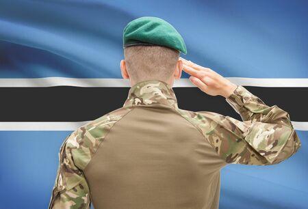 botswanan: Soldier in hat facing national flag series - Botswana