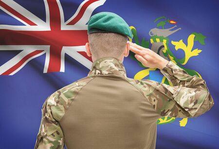 pitcairn: Soldier in hat facing national flag series - Pitcairn Island