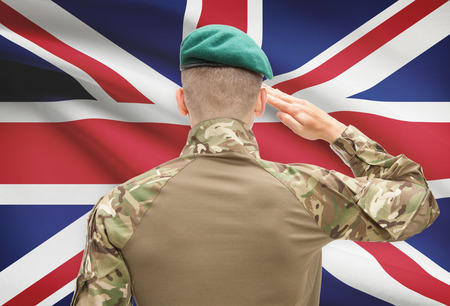 Soldier in hat facing national flag series - United Kingdom
