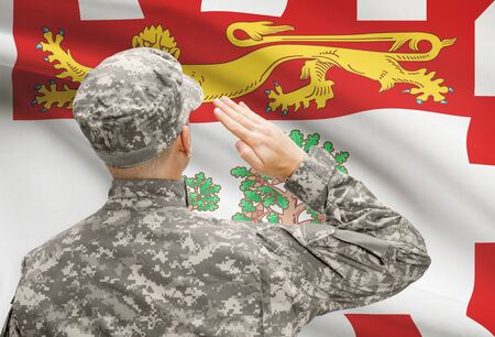 canadian military: Soldier saluting to Canadial province flag conceptual series - Prince Edward Island