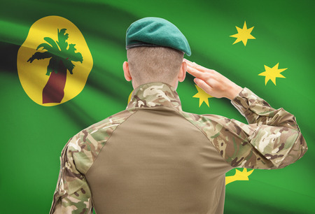 cocos: Soldier in hat facing national flag series - Cocos (Keeling) Islands