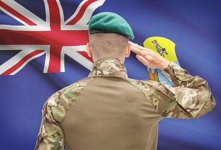 helena: Soldier in hat facing national flag series - Saint Helena