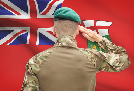 patriotism: Soldier saluting to Canadial province flag series - Ontario