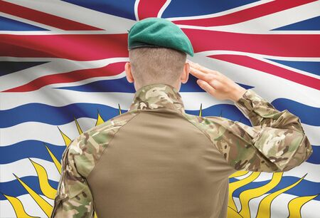 canadian military: Soldier saluting to Canadial province flag series - British Columbia