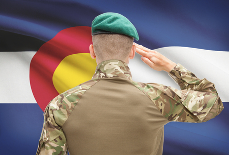 strong base: Soldier saluting to US state flag series - Colorado