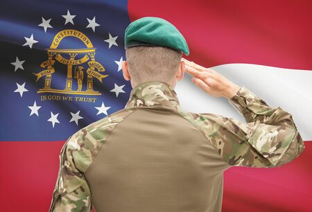 strong base: Soldier saluting to US state flag series - Georgia