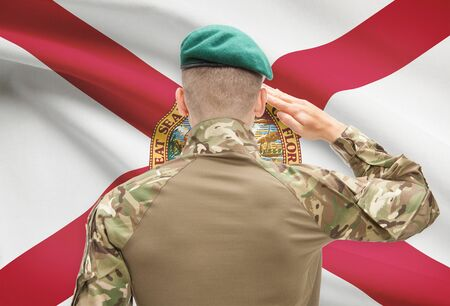 floridian: Soldier saluting to US state flag series - Florida