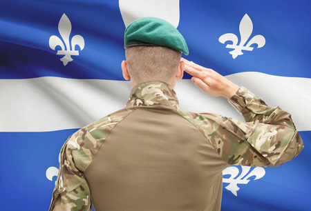 strong base: Soldier saluting to Canadial province flag series - Quebec