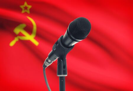 soviet flag: Microphone with national flag on background series - USSR - Soviet Union