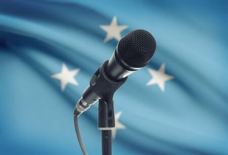 micronesia: Microphone with national flag on background series - Micronesia Stock Photo