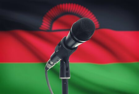 malawian flag: Microphone with national flag on background series - Malawi Stock Photo