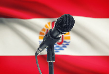 polynesia: Microphone with national flag on background series - French Polynesia