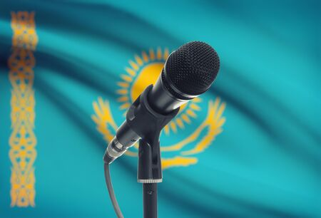 the sermon: Microphone with national flag on background series - Kazakhstan