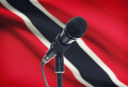 national flag trinidad and tobago: Microphone with national flag on background series - Trinidad and Tobago Stock Photo