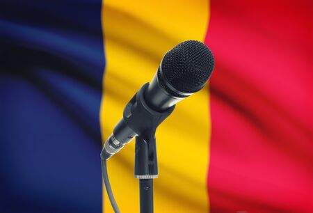 chadian: Microphone with national flag on background series - Chad Stock Photo