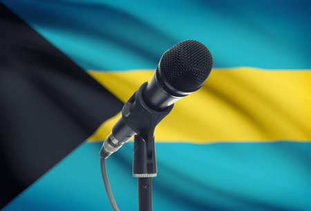 bahamas celebration: Microphone with national flag on background series - Bahamas