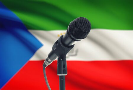 equatorial guinea: Microphone with national flag on background series - Equatorial Guinea