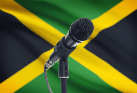 Microphone with national flag on background series - Jamaica