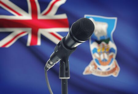 falkland: Microphone with national flag on background series - Falkland Islands Stock Photo