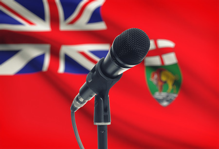 manitoba: Microphone with Canadian province flag on background series - Manitoba