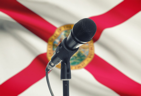 floridian: Microphone with US states flags on background series - Florida