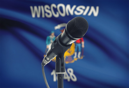 wisconsin flag: Microphone with US states flags on background series - Wisconsin