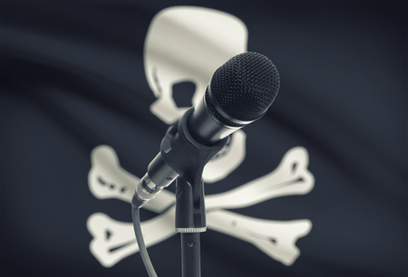 jolly roger: Microphone with flag on background series - Jolly Roger
