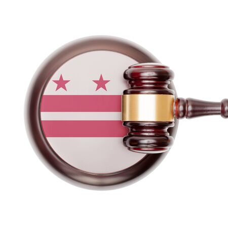 columbia district: Wooden judge gavel with USA state flag on sound block - District of Columbia Stock Photo