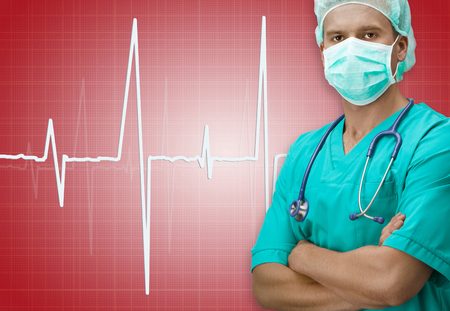 red skinned: Dark skinned surgeon with ECG sign on dark red color background