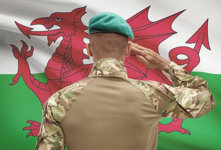 Dark-skinned soldier in hat facing national flag series - Wales Stock Photo