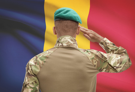 Dark-skinned soldier in hat facing national flag series - Chad Stock Photo