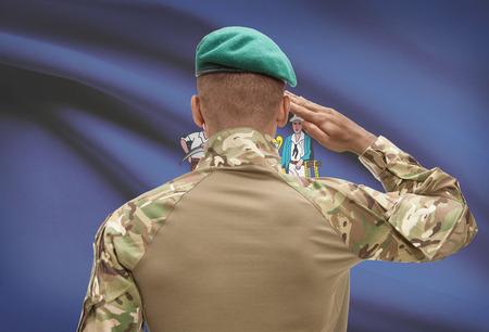Dark-skinned soldier in hat facing US state flag series - Maine