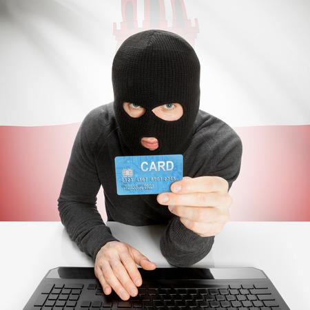 cybercrime: Cybercrime concept with flag - Gibraltar Stock Photo