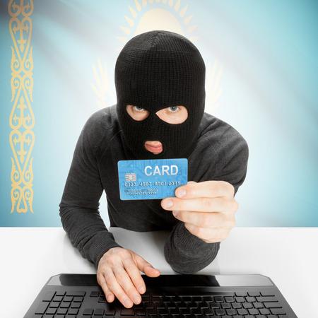 cybercrime: Cybercrime concept with flag - Kazakhstan
