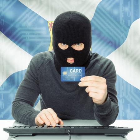 money risk: Hacker with Canadian province flag - Nova Scotia