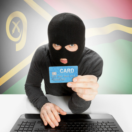 vanuatu: Cybercrime concept with flag - Vanuatu