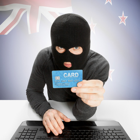 flag of new zealand: Cybercrime concept with flag - New Zealand Stock Photo