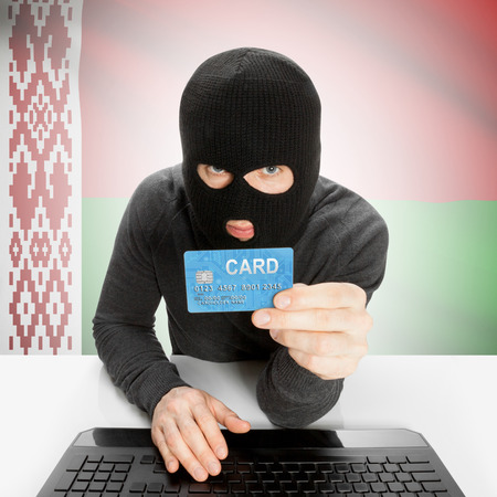 belarus: Cybercrime concept with flag - Belarus Stock Photo