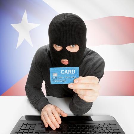 puerto rico: Cybercrime concept with flag - Puerto Rico