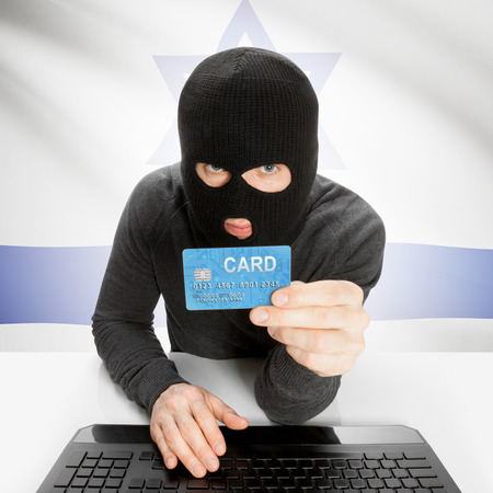 flag of israel: Cybercrime concept with flag - Israel Stock Photo