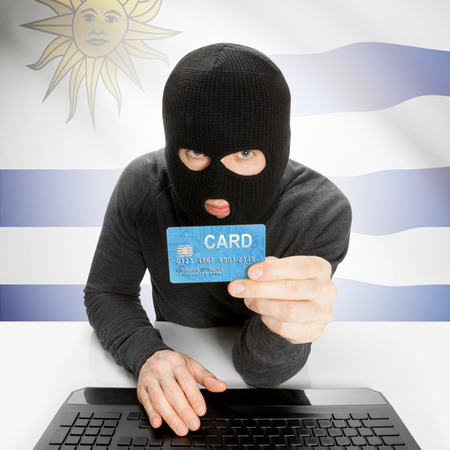 cybercrime: Cybercrime concept with flag - Uruguay