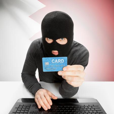 bahrain money: Cybercrime concept with flag - Bahrain