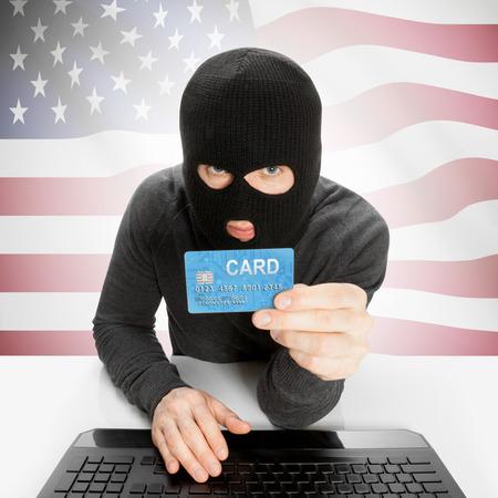 bandiera stati uniti: Concetto di criminalit� informatica con bandiera - Stati Uniti Archivio Fotografico