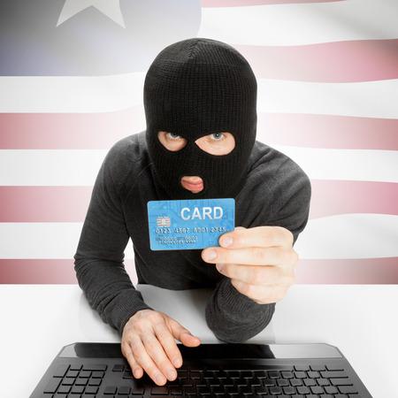 cybercrime: Cybercrime concept with flag - Liberia Stock Photo